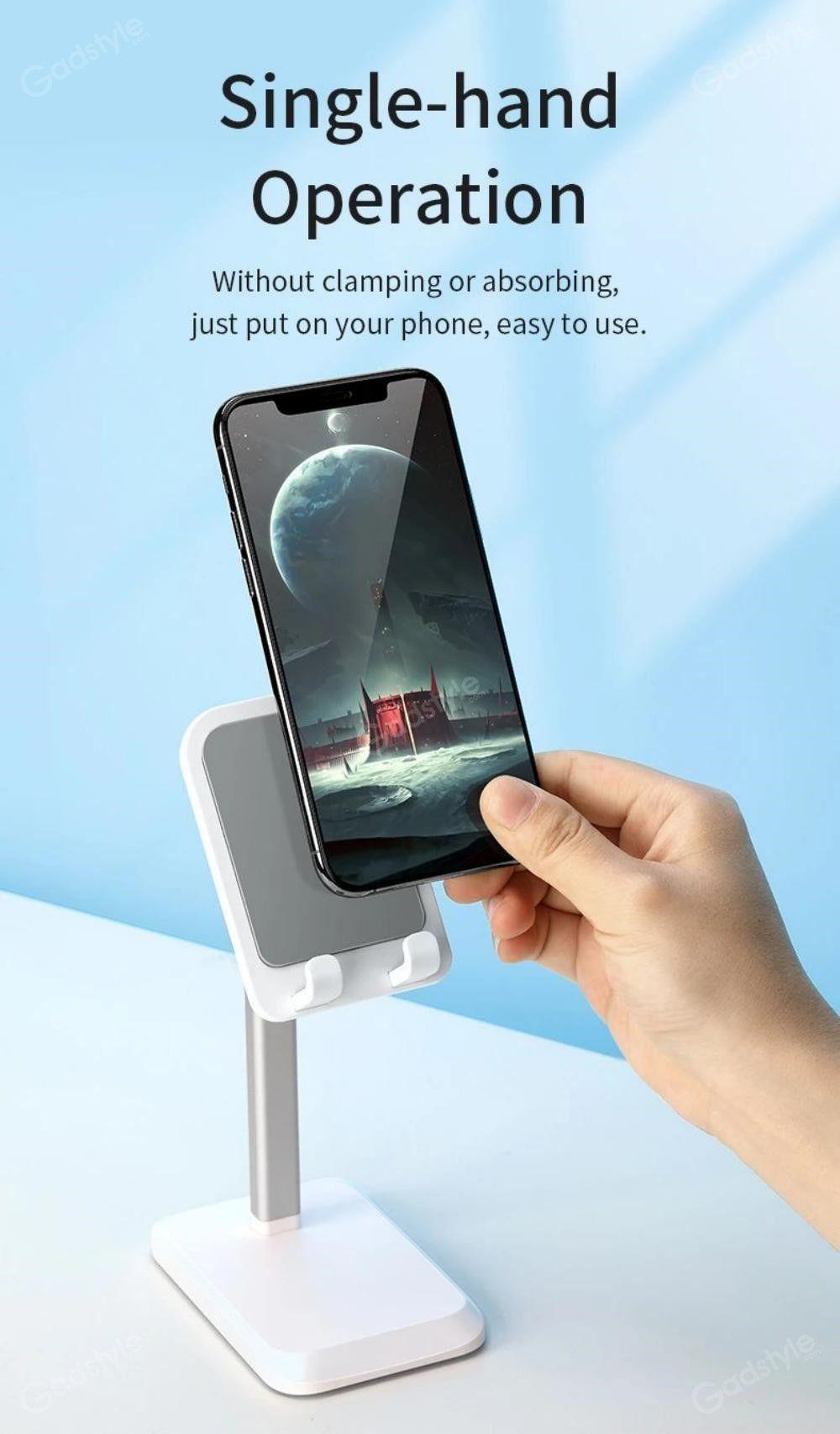 Rock Metal Desktop Stand Tablet Phone Holder Liftable Version (4)