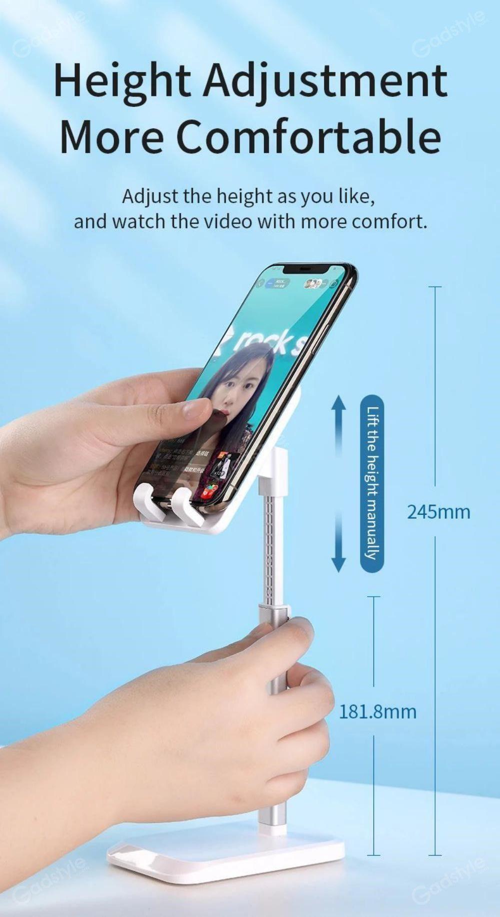 Rock Metal Desktop Stand Tablet Phone Holder Liftable Version (5)