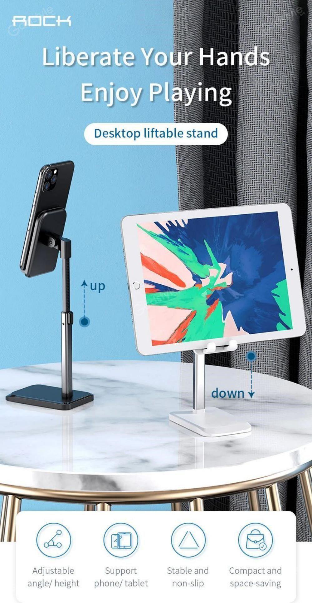 Rock Metal Desktop Stand Tablet Phone Holder Liftable Version (6)