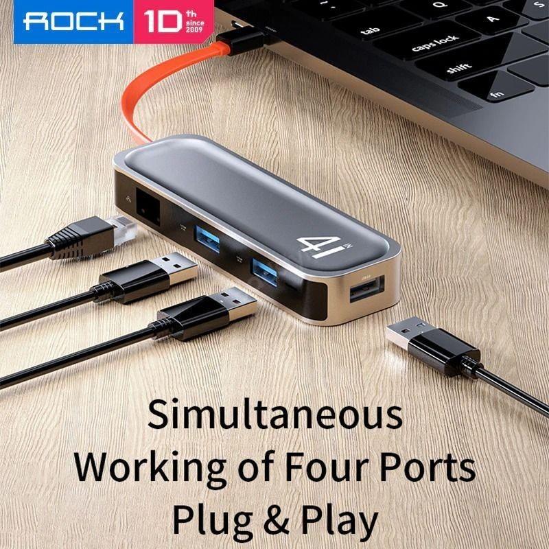 Rock Tr05 Type C To Usb 3 0 Rj45 Hub Adapter (3)