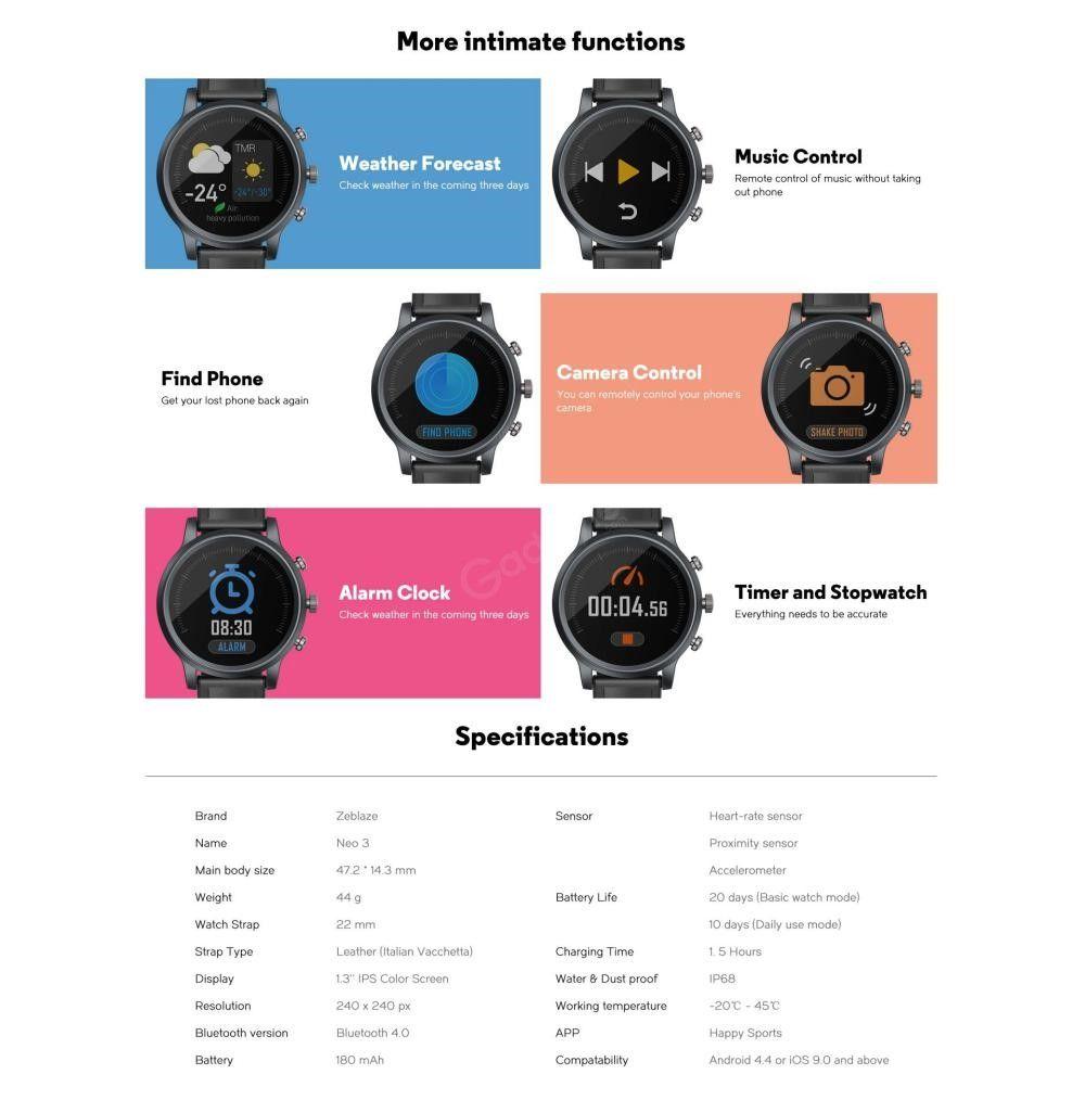 Zeblaze Neo 3 Ip68 Waterproof Smart Watch (3)