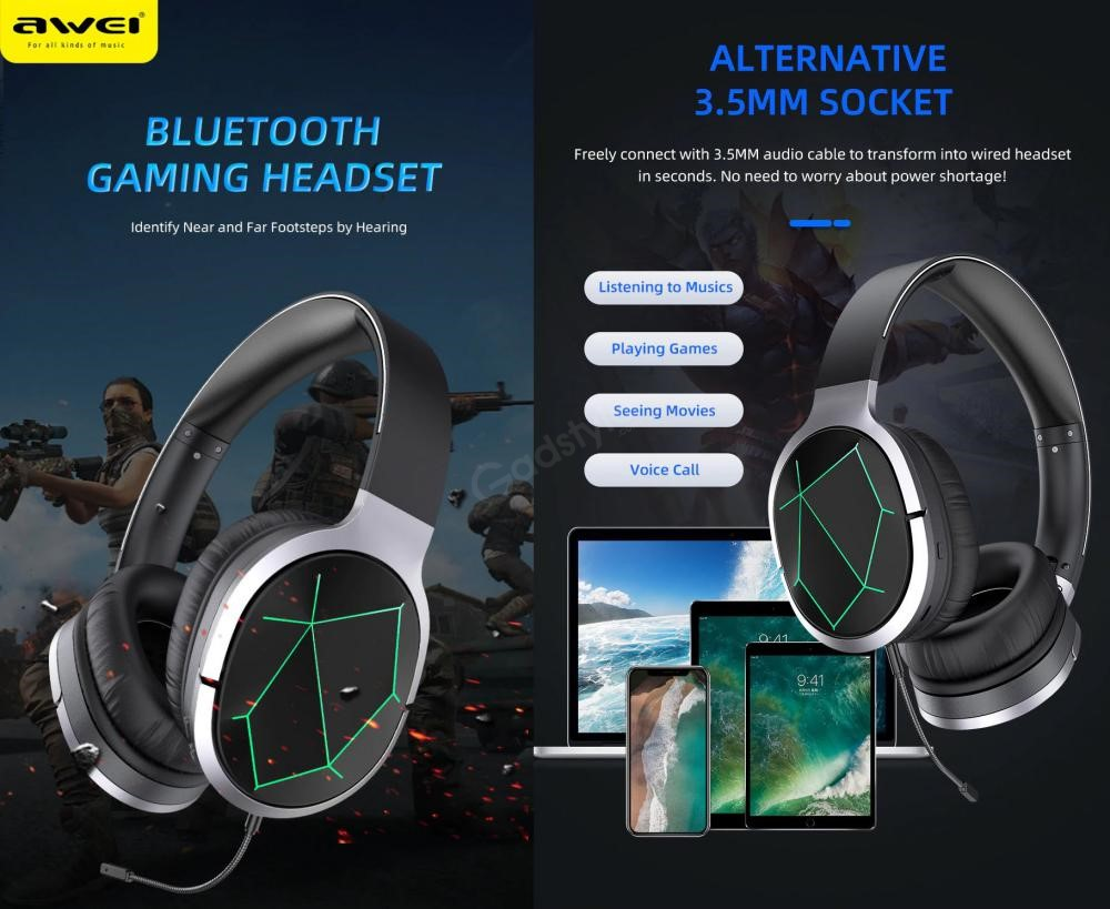 Awei A799bl Foldable Gaming Wireless Headphone (1)