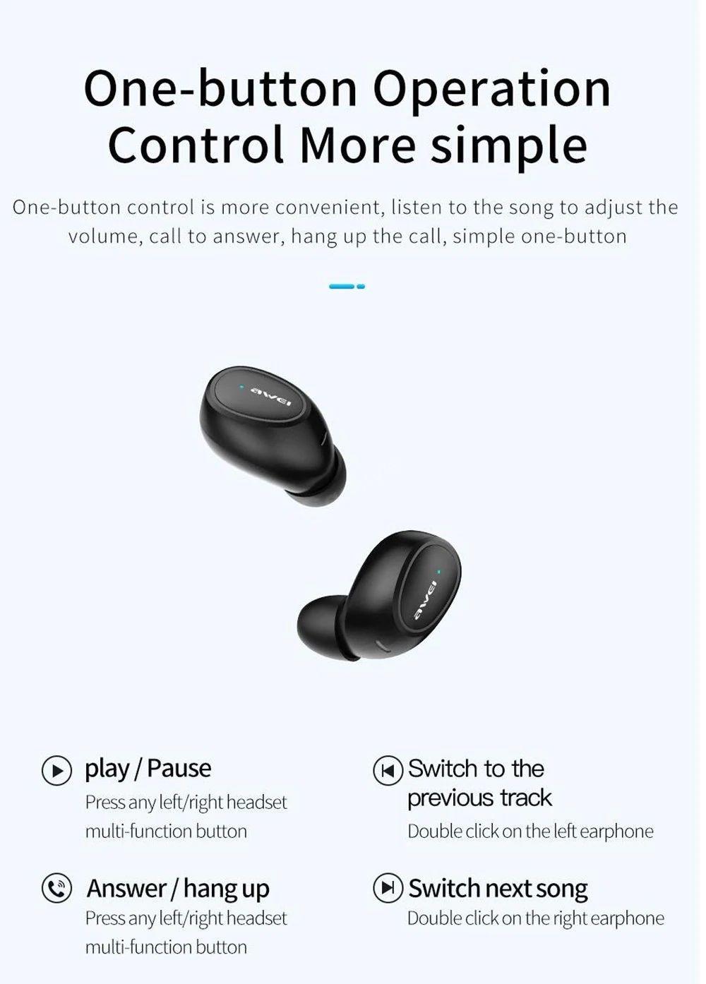 Awei T16 True Bluetooth Wireless Earbuds (6)