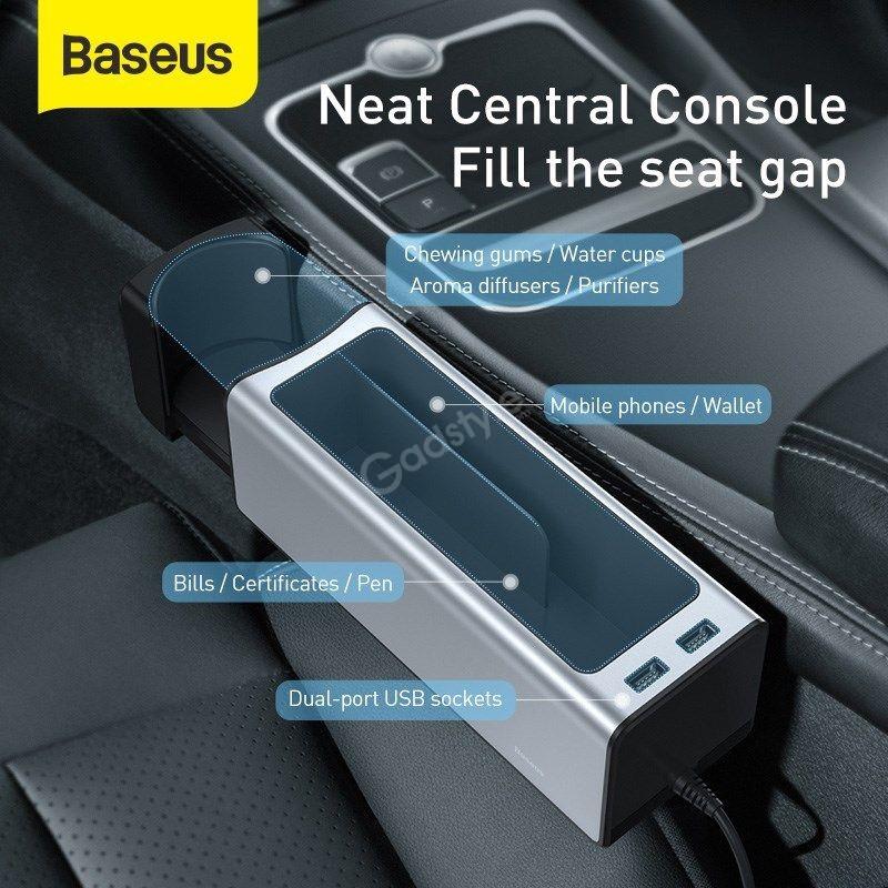 Baseus Deluxe Metal Armrest Console Organizer Dual Usb Power Supply (1)
