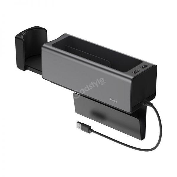 Baseus Deluxe Metal Armrest Console Organizer Dual Usb Power Supply (2)
