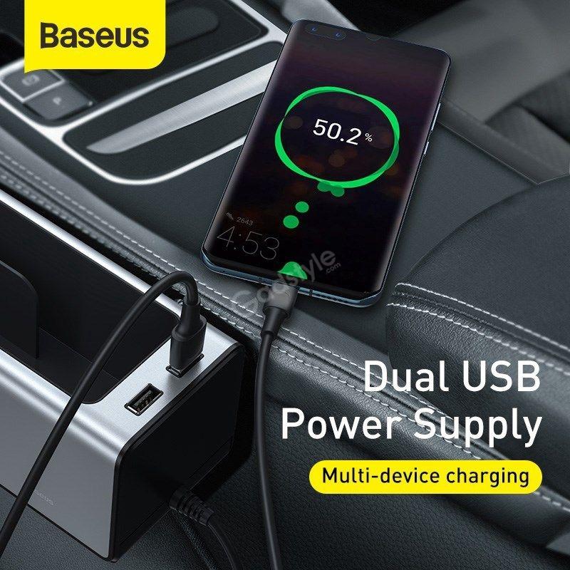 Baseus Deluxe Metal Armrest Console Organizer Dual Usb Power Supply (3)
