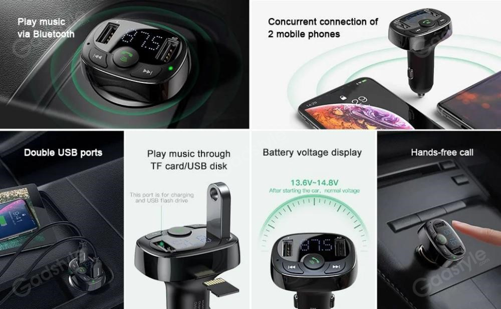 Baseus S 09a T Typed Usb Bluetooth Mp3 Car Charger (4)