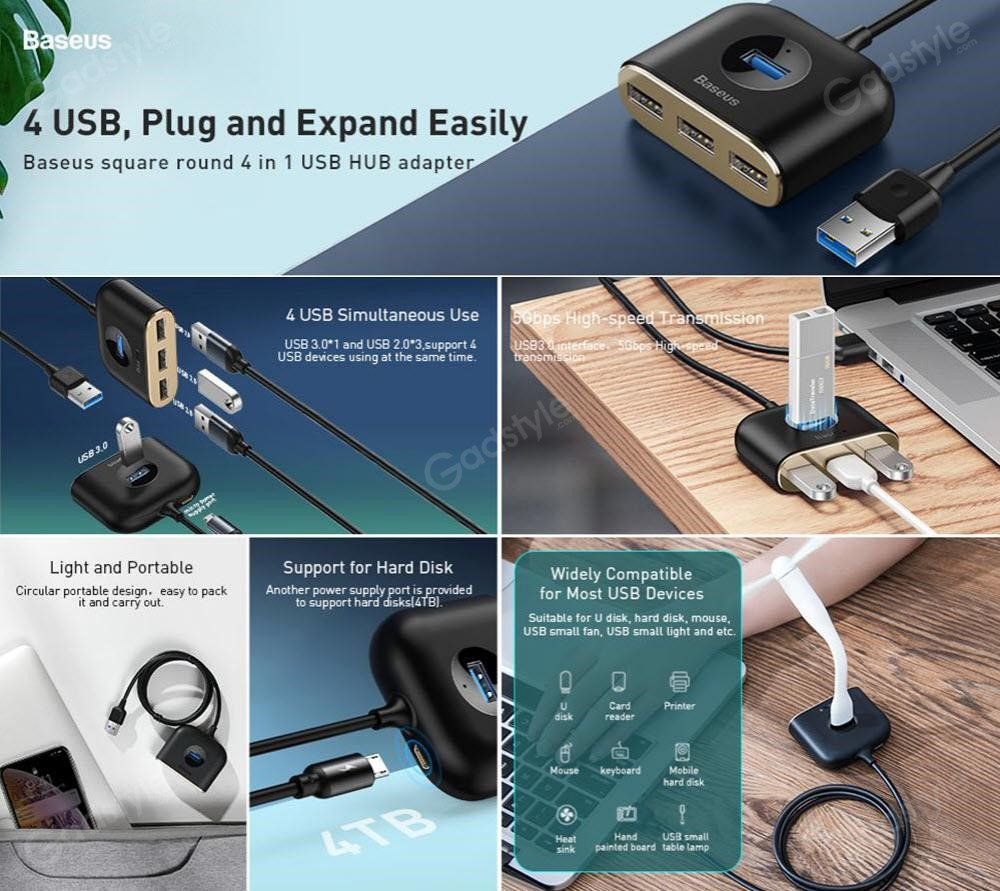 Baseus Square Round 4 In 1 Usb Hub Adapter (1)