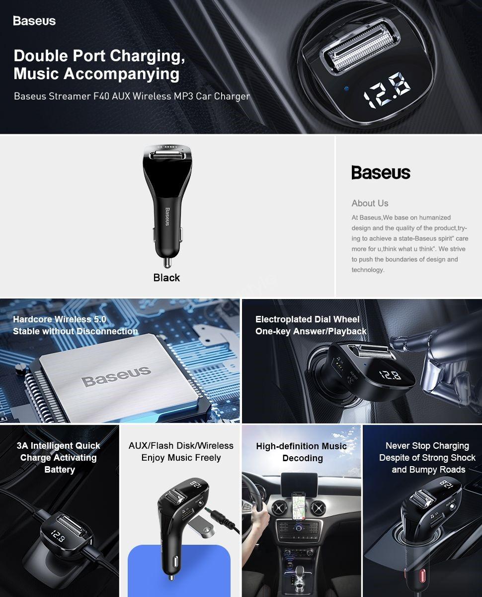 Baseus Streamer F40 Aux Wireless Mp3 Dual Usb Car Charger (2)