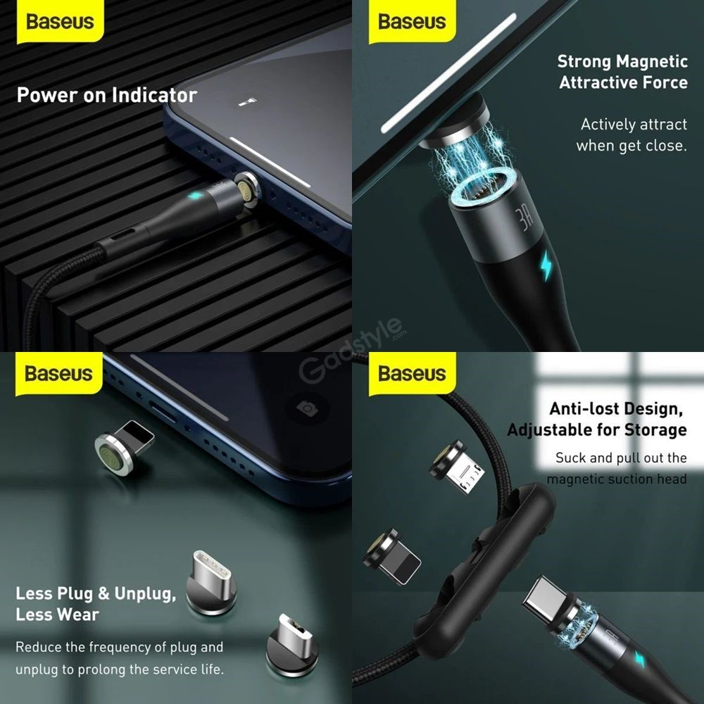 Baseus Zinc Magnetic Safe Fast Charging Data Cable Type C Lightning Micro (1)