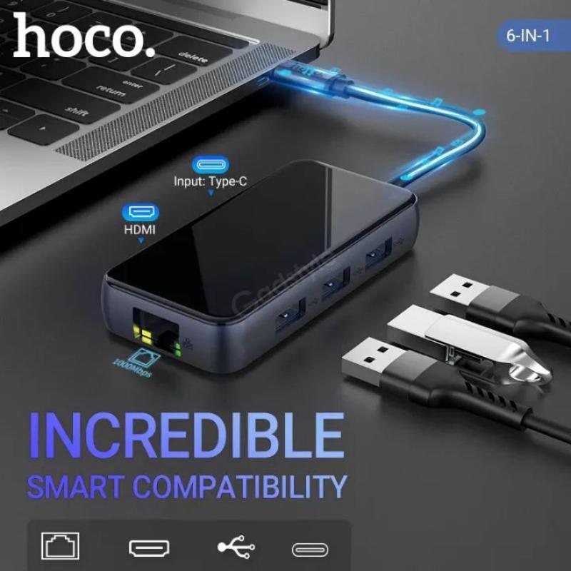 Hoco Hb16 Usb Hubs Type C To Usb3 03 Hdmi Pd Rj45 Adapter Converter (6)