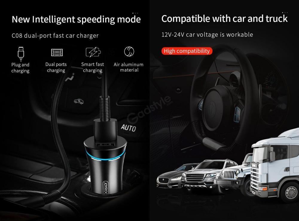 Joyroom Jr C08 Smart Dual Port Car Charger (7)