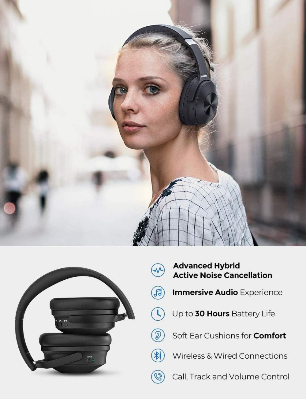 Mpow H12 Hybrid Active Noise Cancelling Headphones (4)