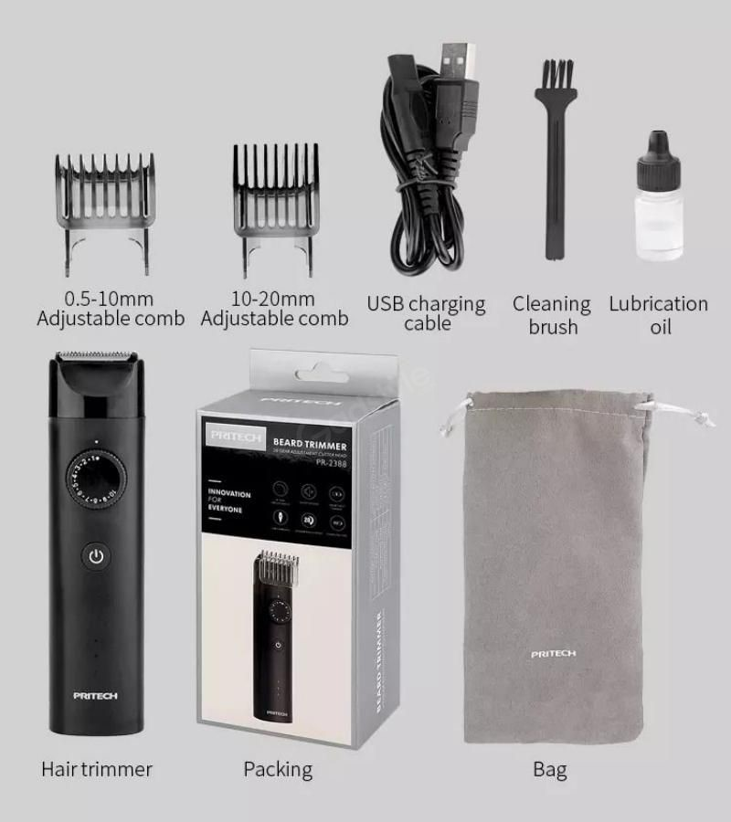 Pritech Pr 2388 Beard Trimmer Ipx6 Waterproof Rechargeable (6)