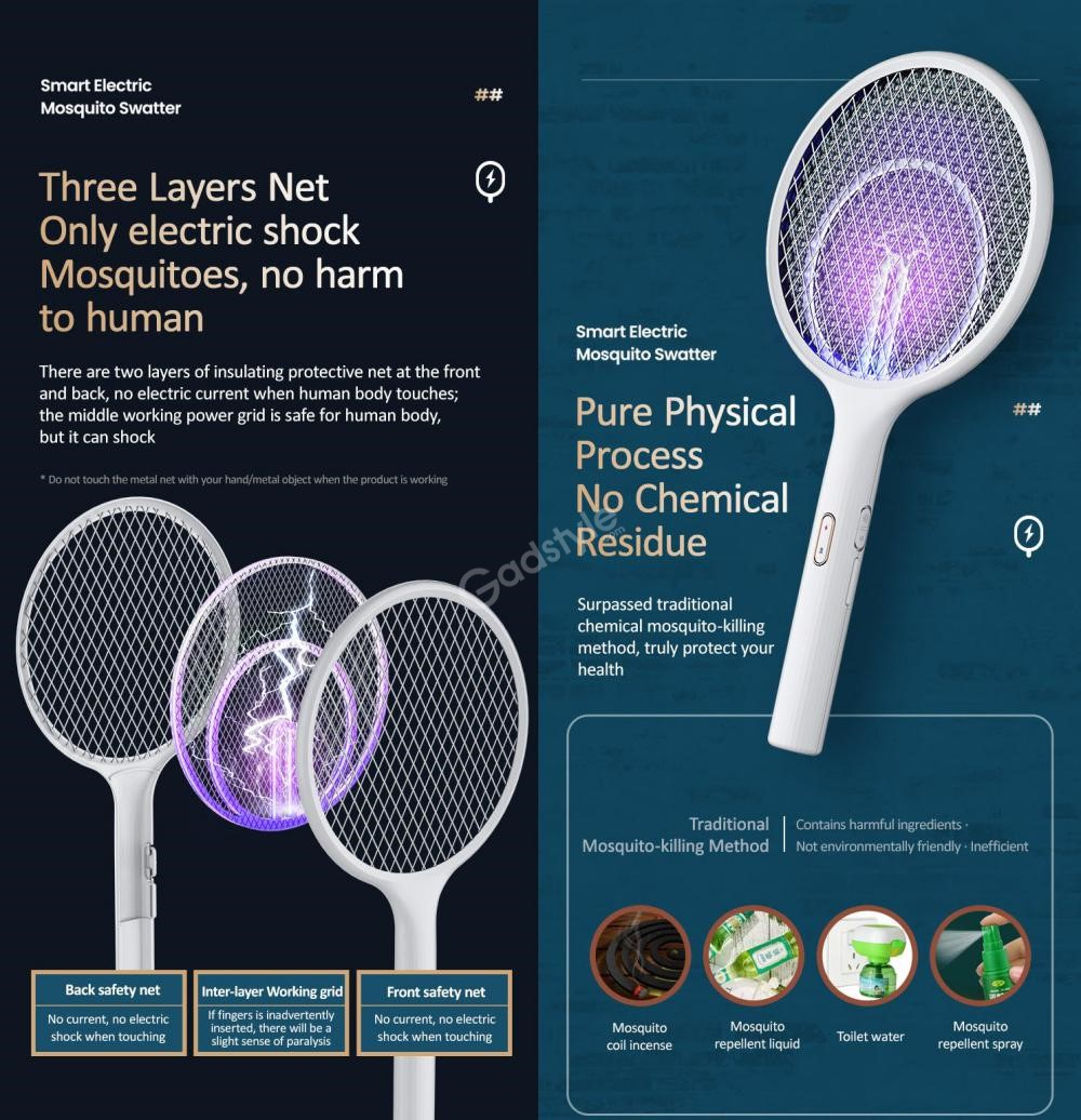 Usams Us Zb165 2 In 1 Mosquito Killer Lamp Electric Mosquito Swatter (1)