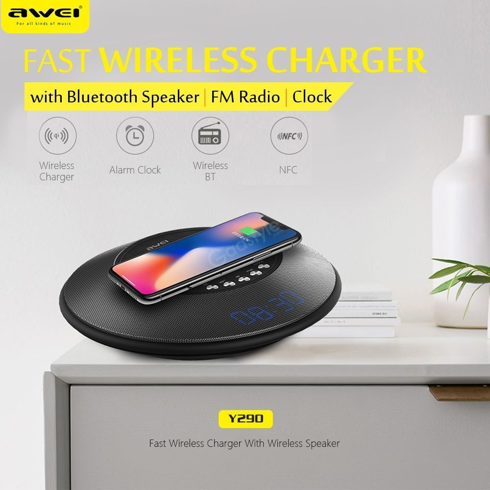 Awei Y290 Bluetooth Speaker With Wireless Charger Mini Portable Speakers (4)