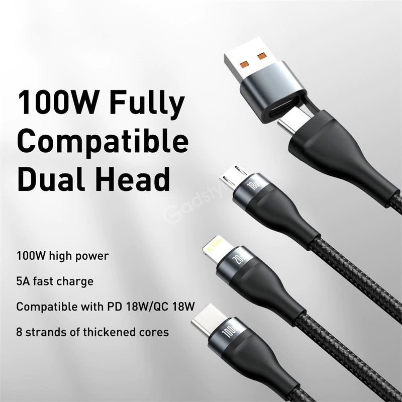 Baseus Flash Series Two For Three Fast Charging Data Cable (2)