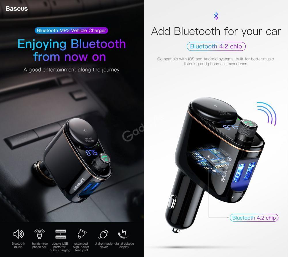 Baseus Locomotive Bluetooth Fm Transmitter Mp3 Car Charger 2x Usb (1)