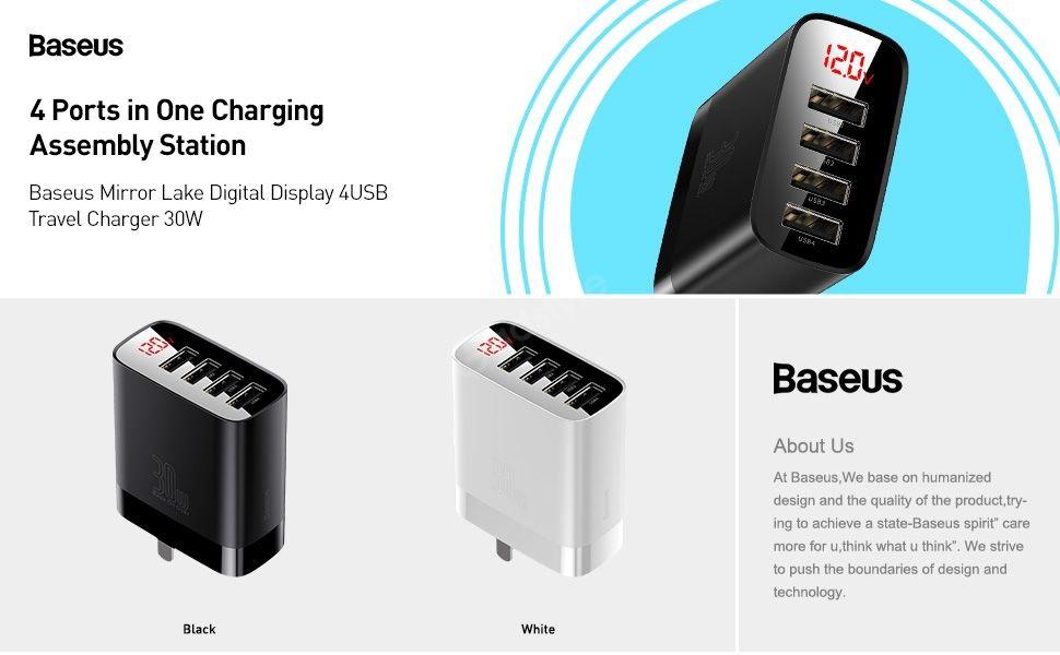 Baseus Mirror Lake 30w Digital Display 4 Usb Quick Charger (2)