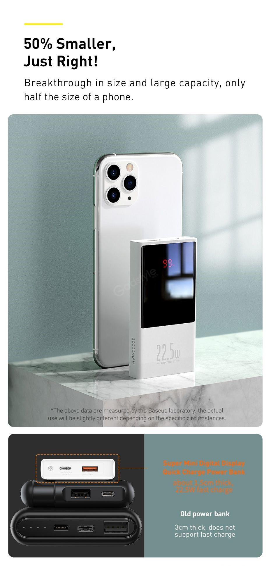 Baseus Super Mini Digital Display 10000mah Power Bank 22 5w (7)