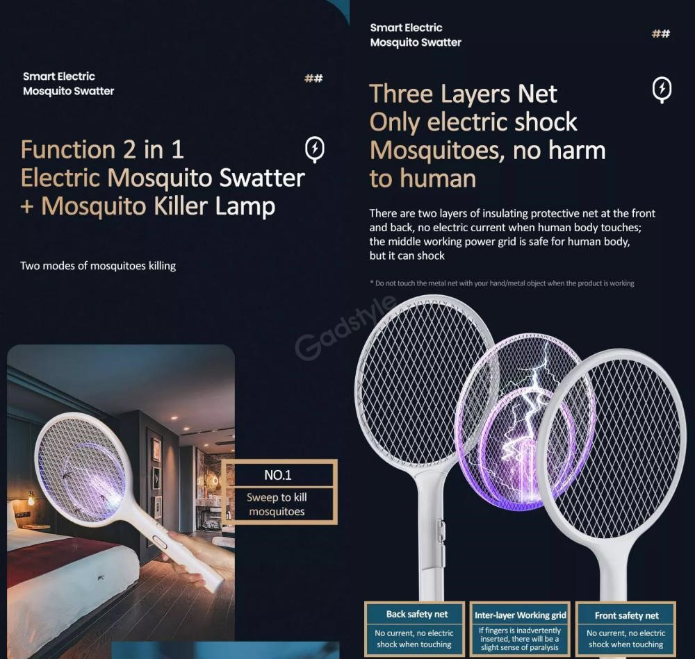 Usams Function 2 In 1 Electric Mosquito Swatter Killer Lamp (1)