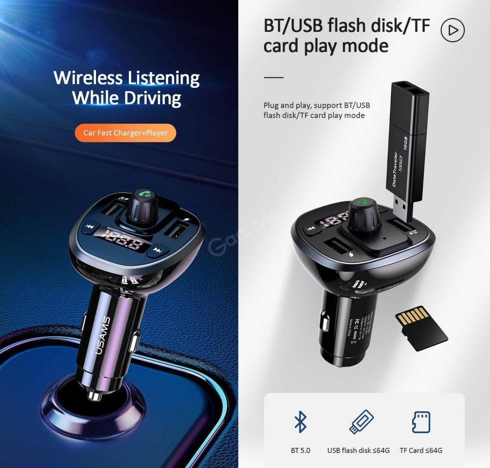 Usams Us Cc115 C21 Dual Usb 3 4a Digital Display Bluetooth Fm Car Charger (2)