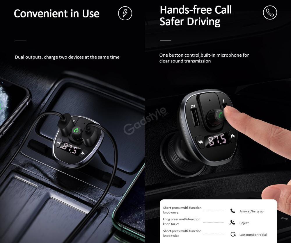 Usams Us Cc115 C21 Dual Usb 3 4a Digital Display Bluetooth Fm Car Charger (3)