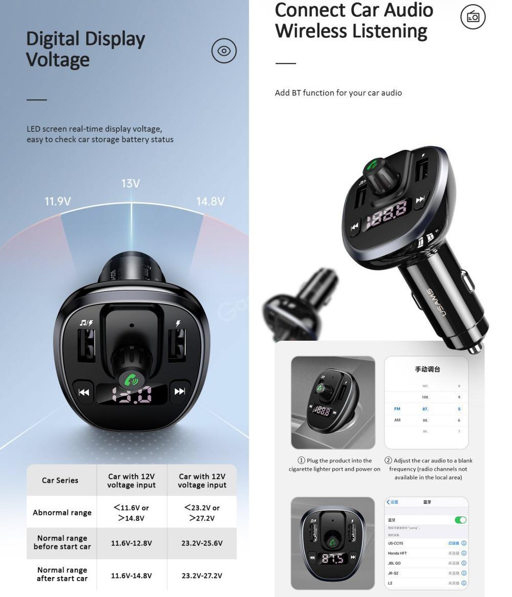 Usams Us Cc115 C21 Dual Usb 3 4a Digital Display Bluetooth Fm Car Charger (4)