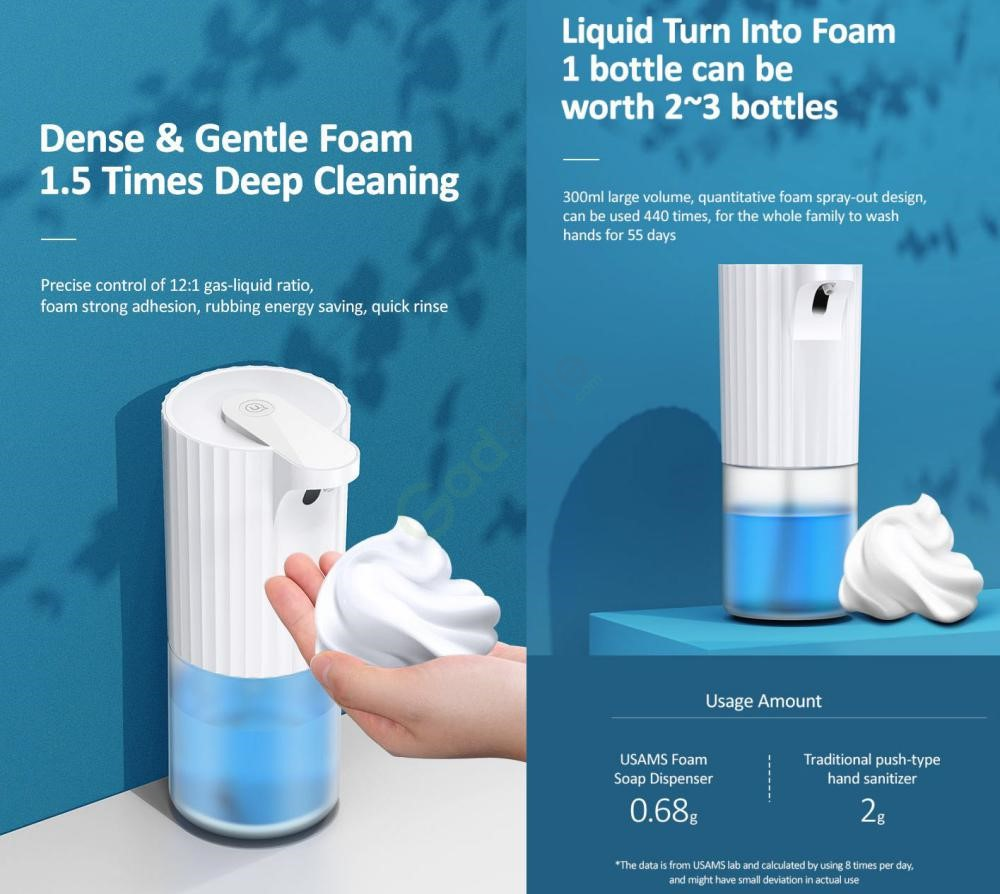 Usams Us Zb172 Wall Mounted Automatic Soap Dispenser 300ml (2)