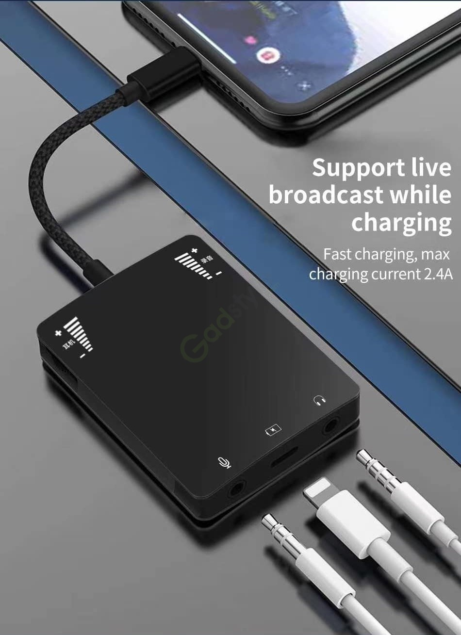 Wiwu 3in1 Live Broadcast Adapter Music Call Sound Card Charging (4)