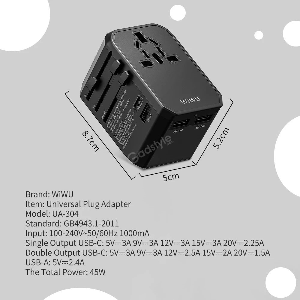 Wiwu Ua 304 Charger Adapter Travel Charger With 3 Usb Ports 45w Type C Pd Port (5)