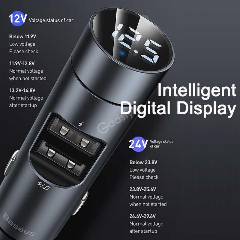Baseus 18w Dual Usb Car Wireless Mp3 Charger (3)