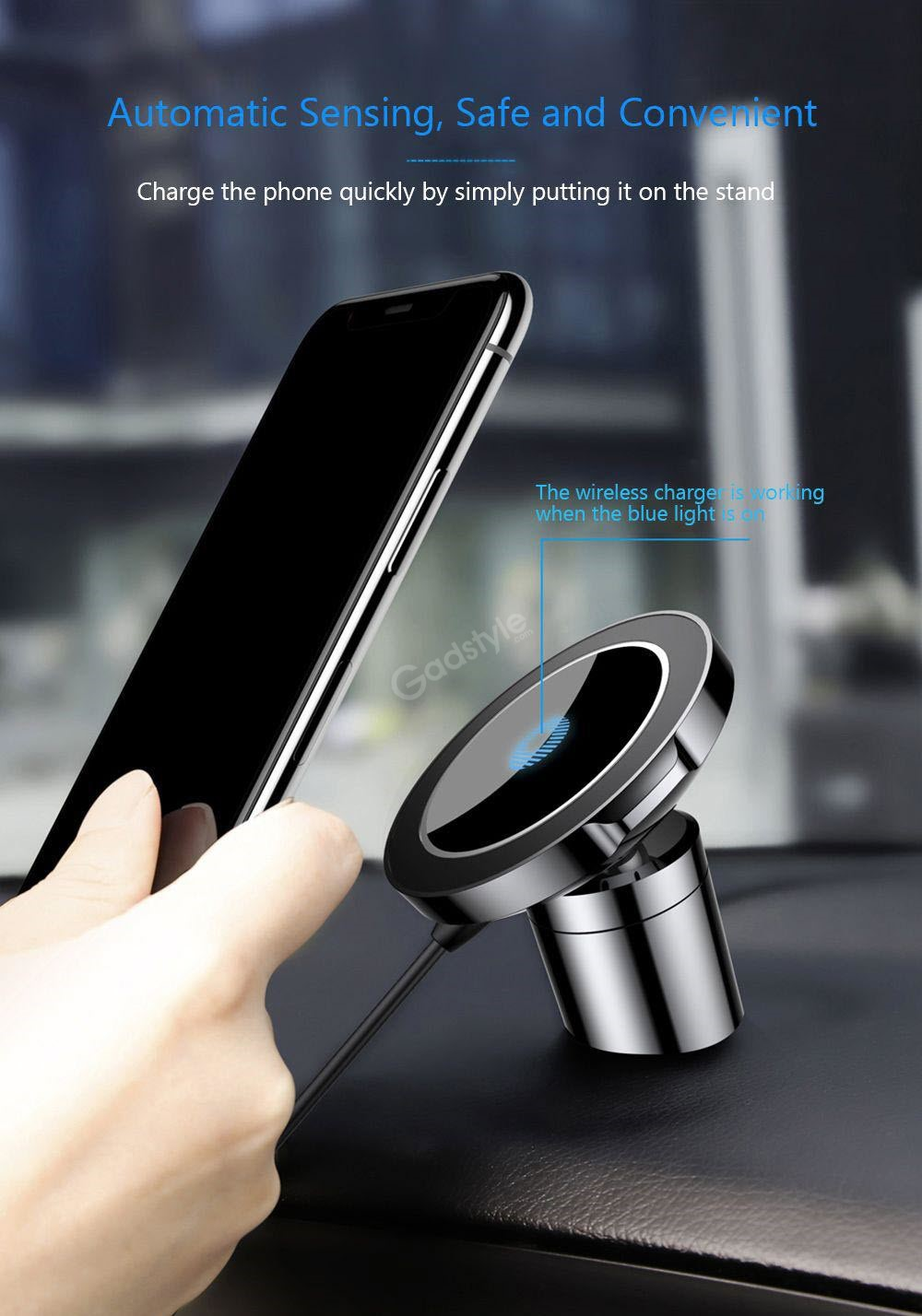 Baseus Big Ears Car Mount Holder With Wireless Qi Car Charger (5)