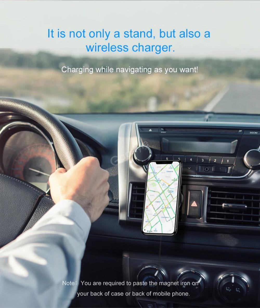 Baseus Big Ears Car Mount Holder With Wireless Qi Car Charger (6)
