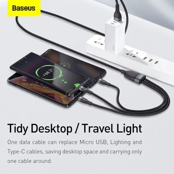 Baseus Flash Series 3 In 1 Fast Charging Data Cable Iphone Micro Usb C (2)
