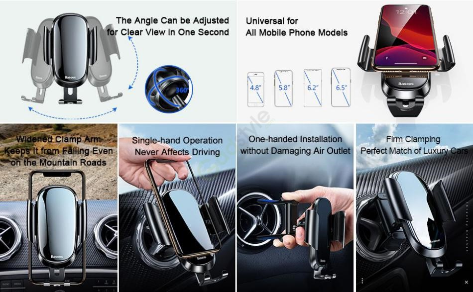 Baseus Future Gravity Vehicle Mounted Holder Applicable To Car Round Air Outlet (3)