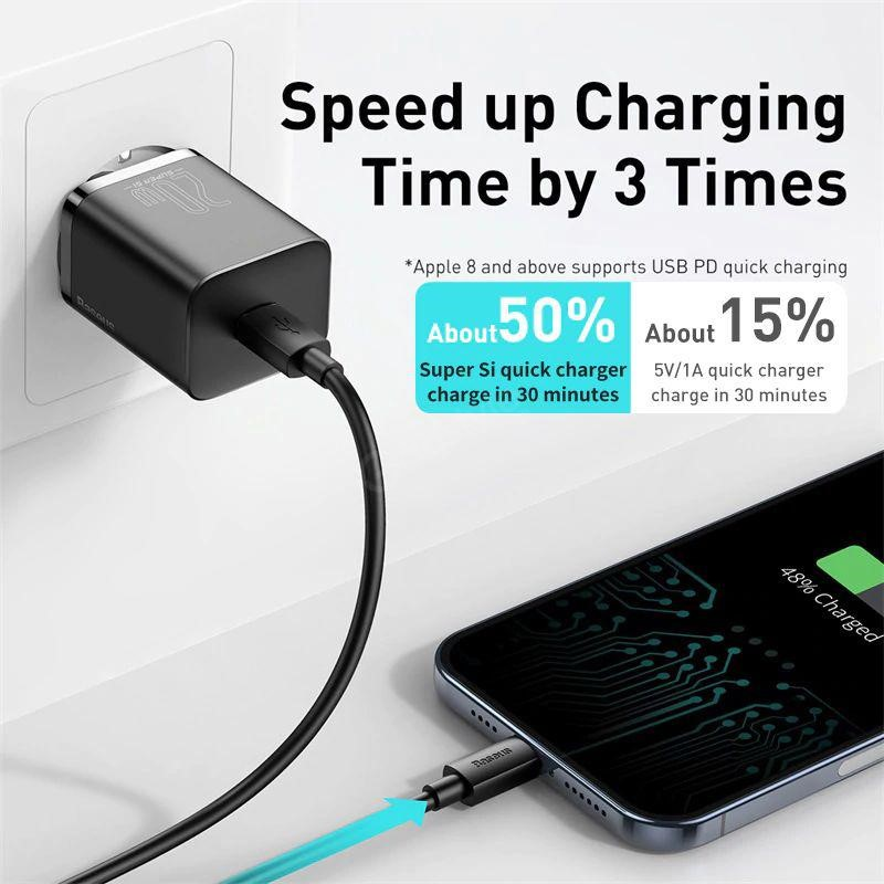 Baseus Super Si Quick Charger 1c 20w With Lightning Cable (2)