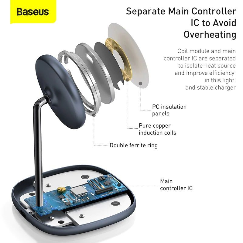 Baseus Swan Magnetic Desktop Bracket Wireless Charger For Apple 12 Series (1)