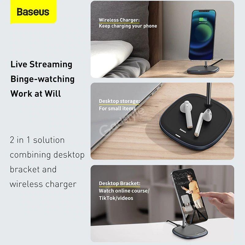 Baseus Swan Magnetic Desktop Bracket Wireless Charger For Apple 12 Series (2)