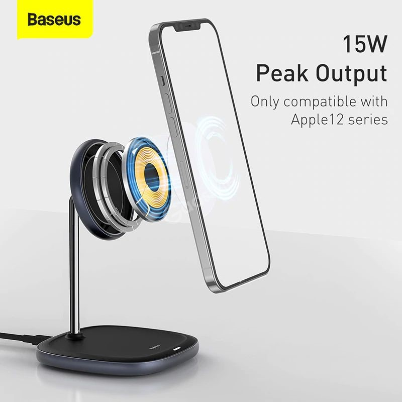 Baseus Swan Magnetic Desktop Bracket Wireless Charger For Apple 12 Series (3)