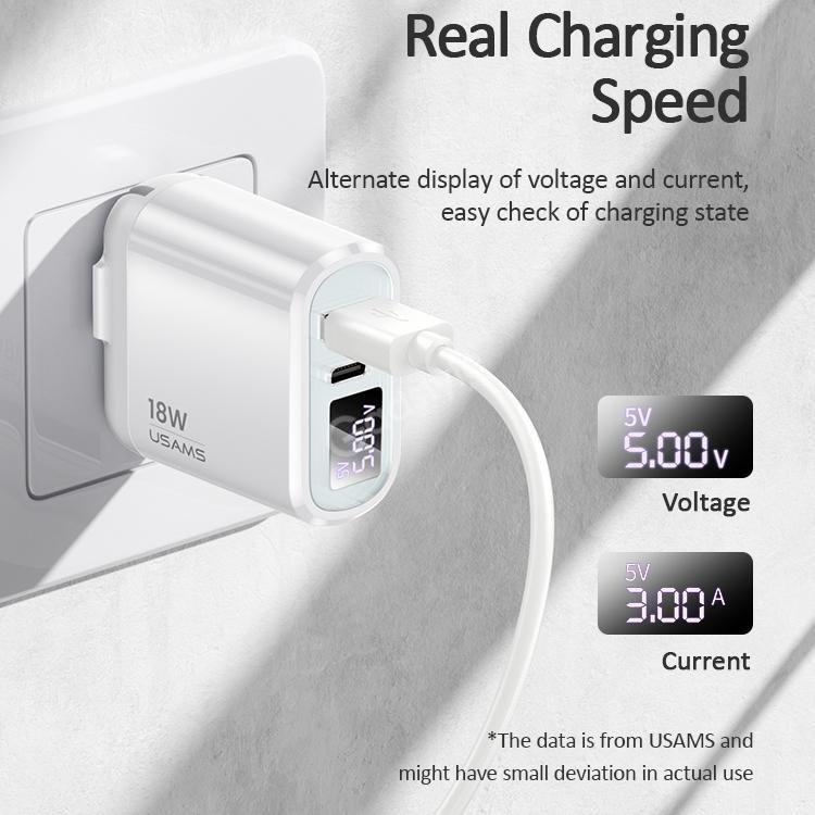 Usams Us Cc103 T30 18w Qc3 0pd3 0 Digital Display Fast Charging Travel Charger Powe ( (4)