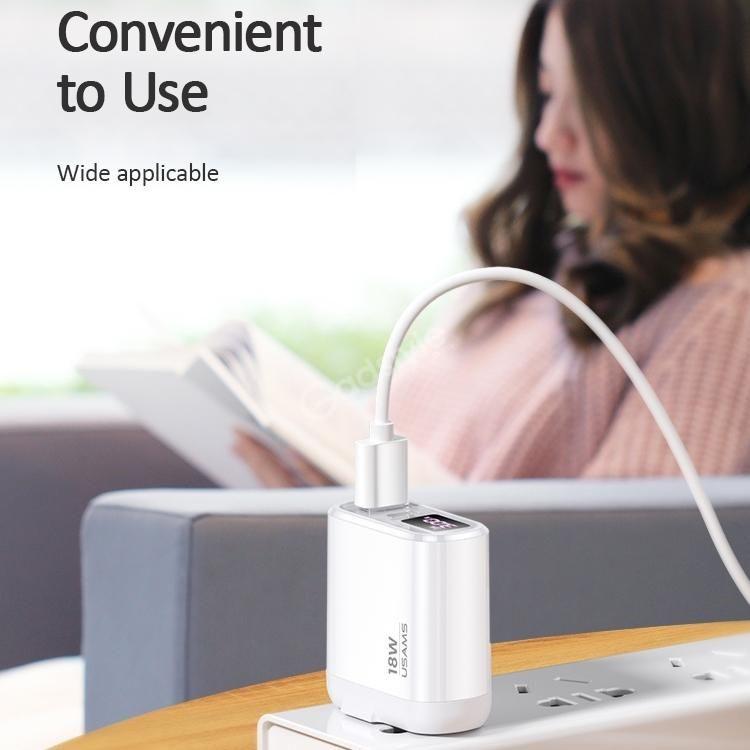 Usams Us Cc103 T30 18w Qc3 0pd3 0 Digital Display Fast Charging Travel Charger Powe ( (5)