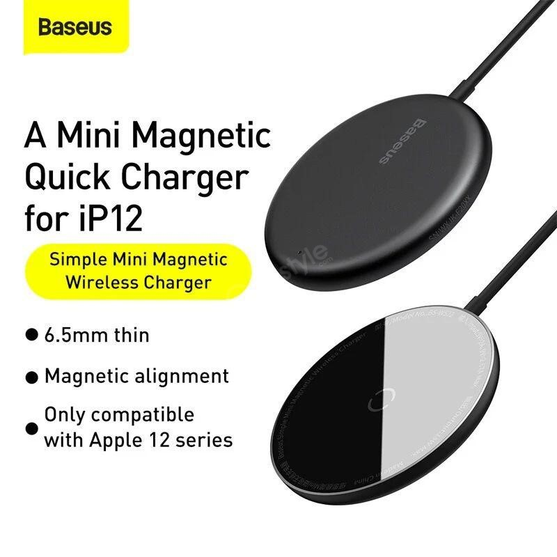 Baseus Bs W522 Simple Mini Magnetic Wireless Charger For Ip 12 Series (4)