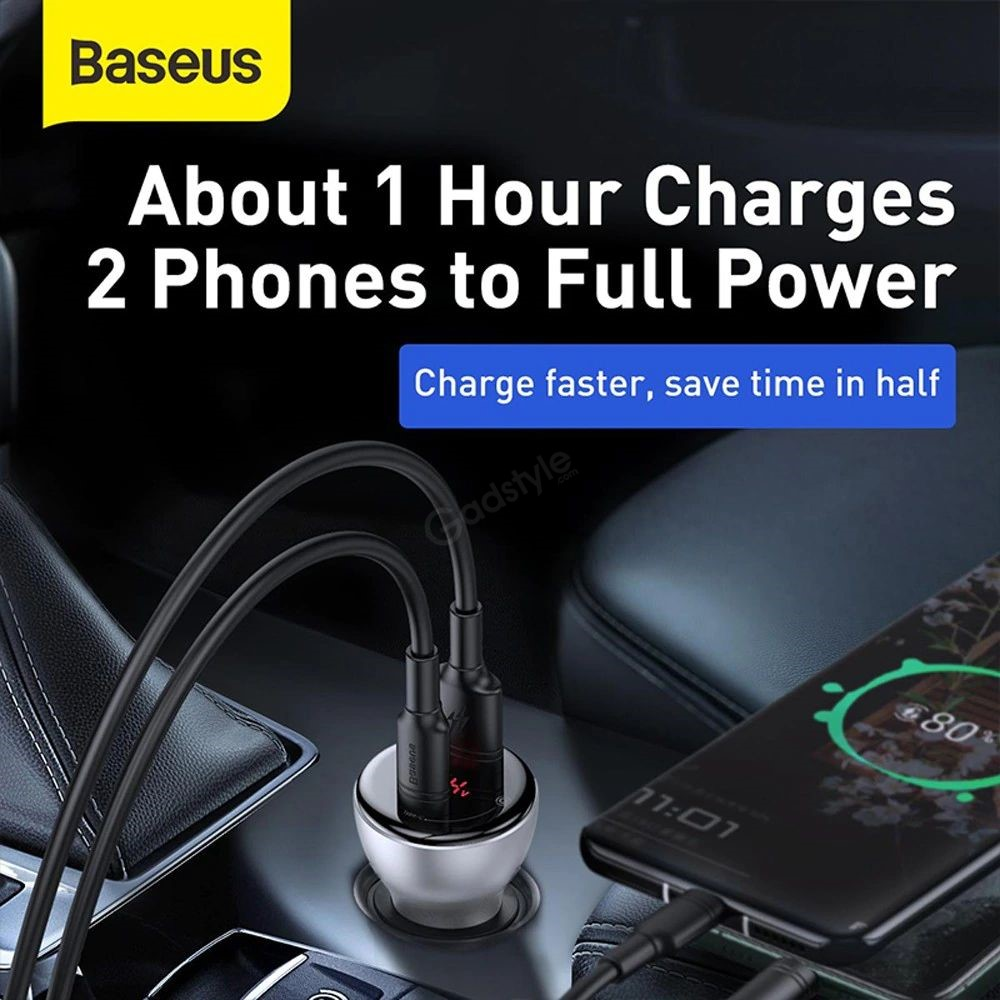 Baseus Car Charger 45w With Digital Display Pps Dual Quick Charging (1)