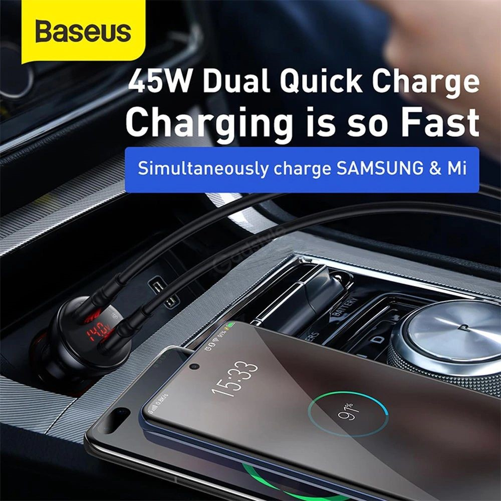 Baseus Car Charger 45w With Digital Display Pps Dual Quick Charging (2)