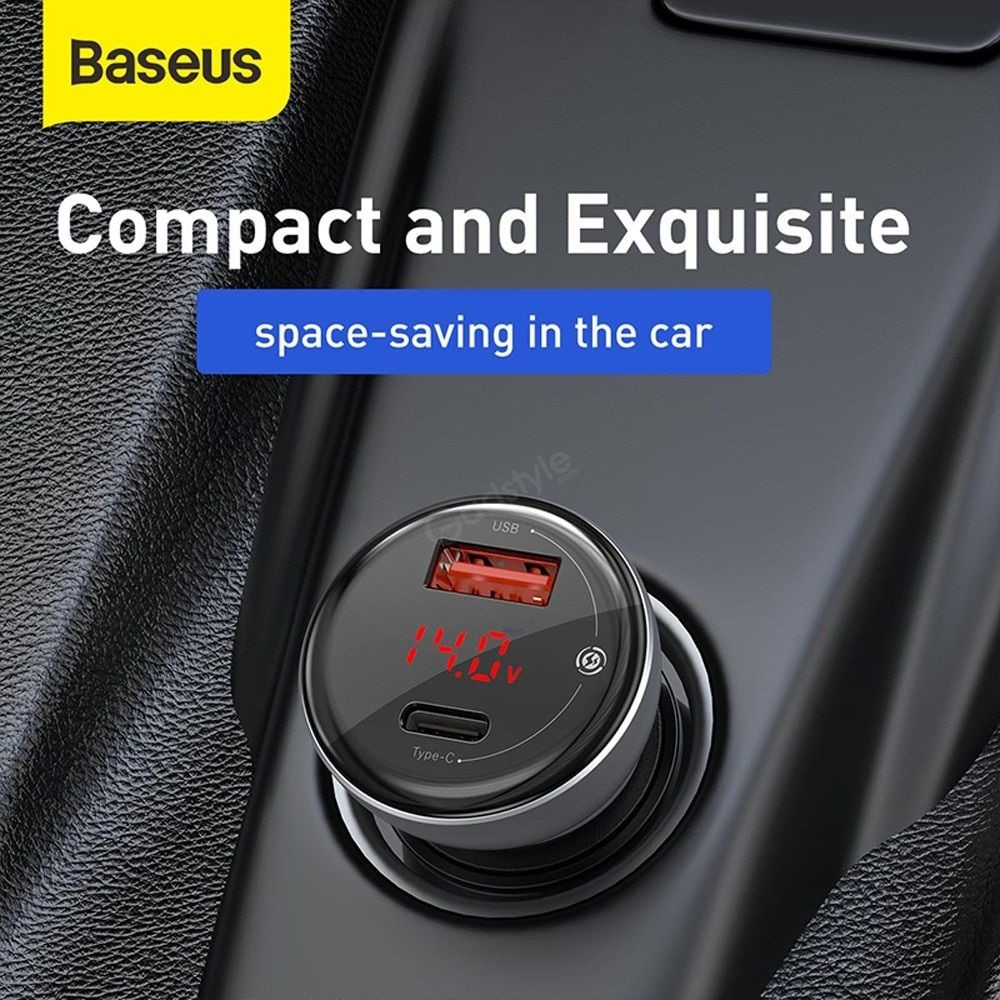 Baseus Car Charger 45w With Digital Display Pps Dual Quick Charging (3)