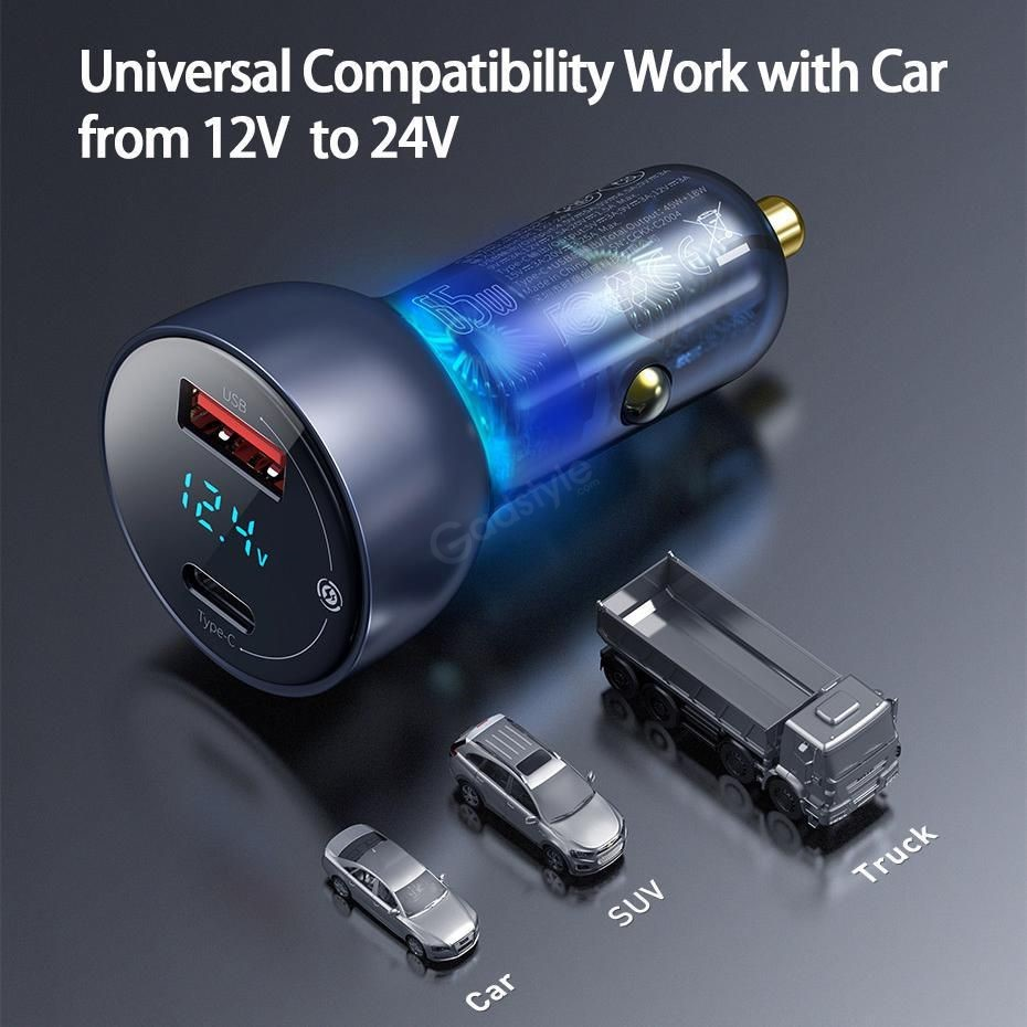 Baseus Car Charger 65w Particular Digital Display Qcpps Dual Quick Charger (2)