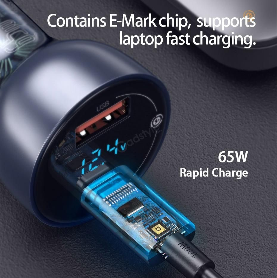Baseus Car Charger 65w Particular Digital Display Qcpps Dual Quick Charger (3)