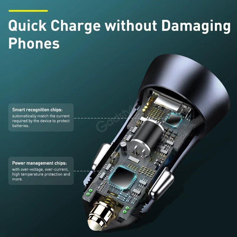 Baseus Golden Contactor Pro 40w Dual Quick Charger Car Charger Usbtype C (2)