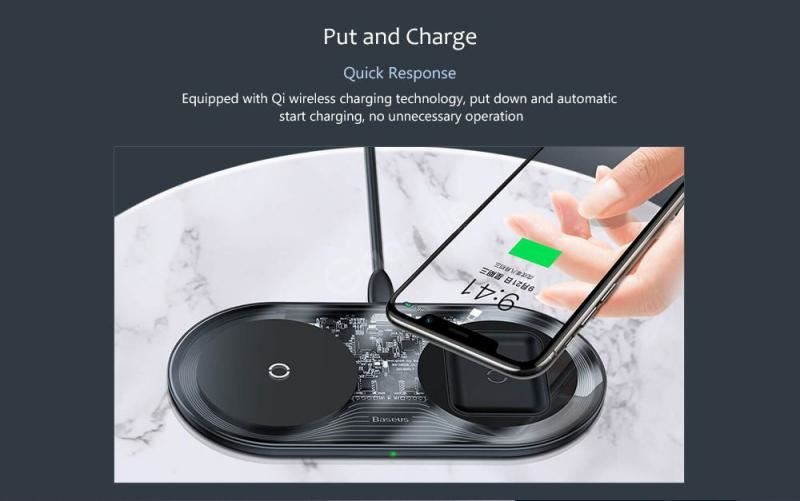 Baseus Simple 2in1 Wireless Charger 18w Max For Phonespods (8)